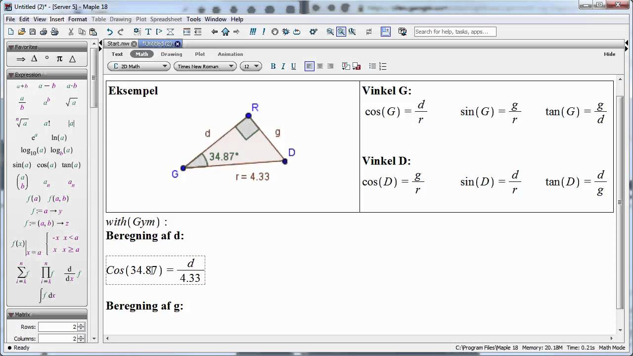 Maple 18 - Sådan beregnes de to kateter i en retvinklet trekant med kendt vinkel