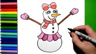 How to Draw a Pretty Snow Woman Step by Step