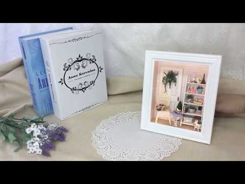 Doll House Frame Miniature with Furniture DIY Wooden Miniaturas Toys Craft