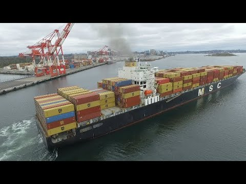 Awesome Bird's Eye View! Container Ship MSC POH LIN - Inbound Halifax, NS - Docking at PSA Terminal