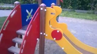 Обзор Детской площадки - Горка Крепость.  Overview Playground - Hill Fortress.