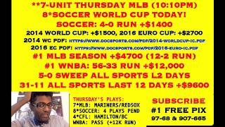 FREE MLB PICKS, 8*WORLD CUP TODAY, 5-0 SWEEP L2 DAYS, 32-11 +$9600 ALL SPORTS [06-14-18]