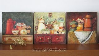 Decoupage tutorial - DIY. Decoupage on canvas. How to make canvas art and own clock.(, 2015-12-27T16:53:12.000Z)