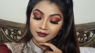 Valentine's Day Makeup- Maroon & Copper Eyes with Bold Lips