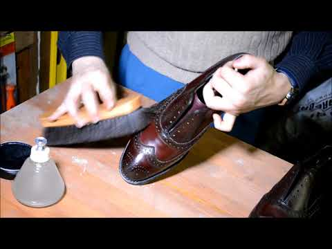 ASMR How I shine Allen Edmonds McAllister oxblood burgundy patina wingtips men dress shoes