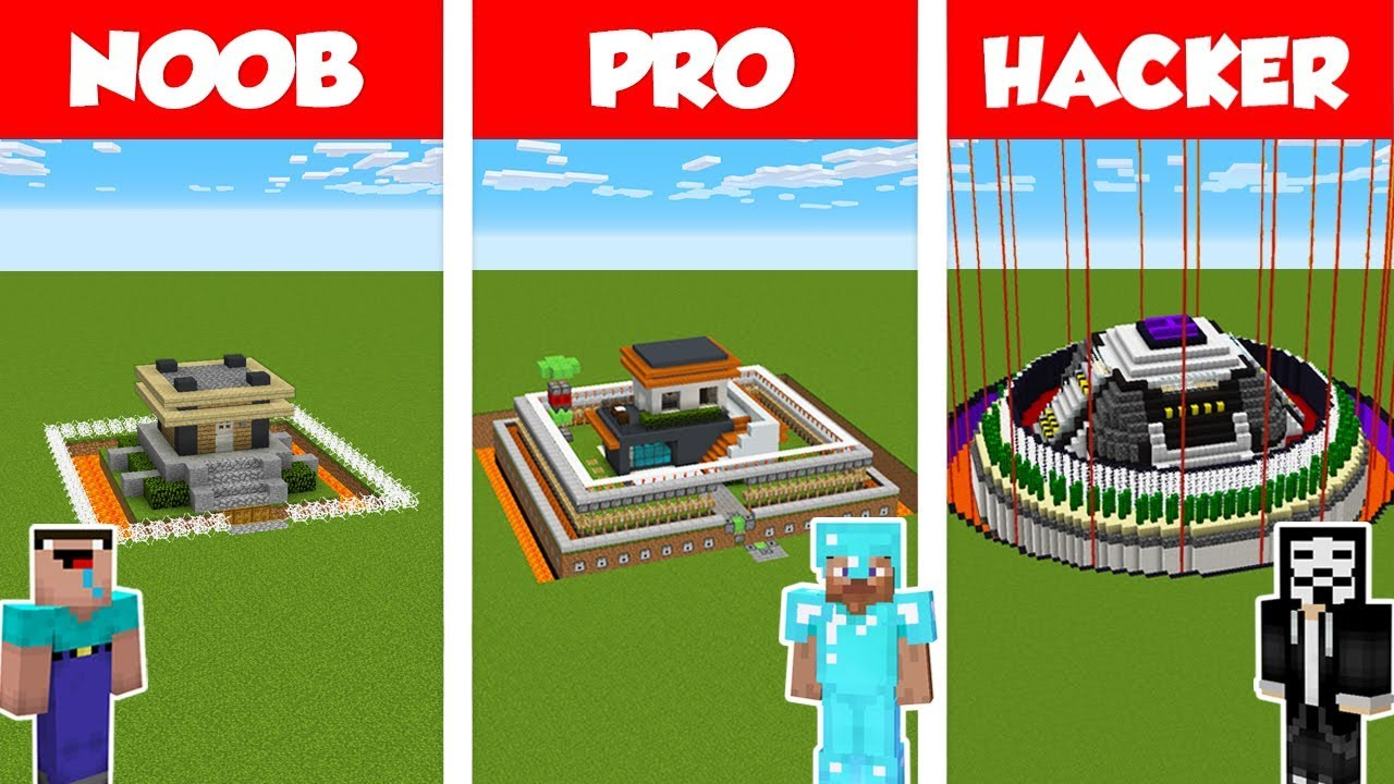 Minecraft NOOB vs PRO vs HACKER: SAFEST HOUSE BUILD CHALLENGE in Minecraft / Animation