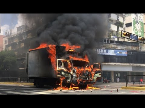 Protesters set truck ablaze in Venezuelan capital