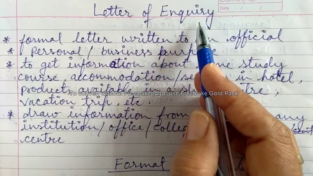 letter of enquiry for class 10 12 cbse format and a sample letter