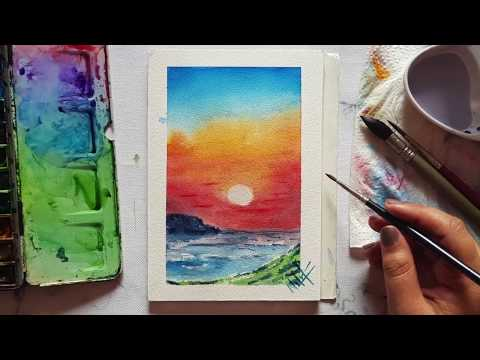 Watercolour Landscape | Orange Sunset Painting | Easy to paint
