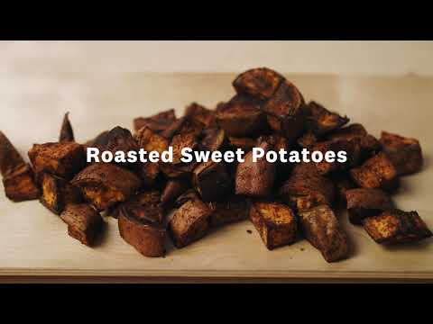 Thumbnail to launch Roasted Sweet Potatoes video