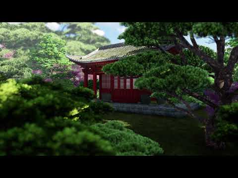 ( CGI 4k Stock Footage ) Japansese asian buddhist architecture temple zen garden 5