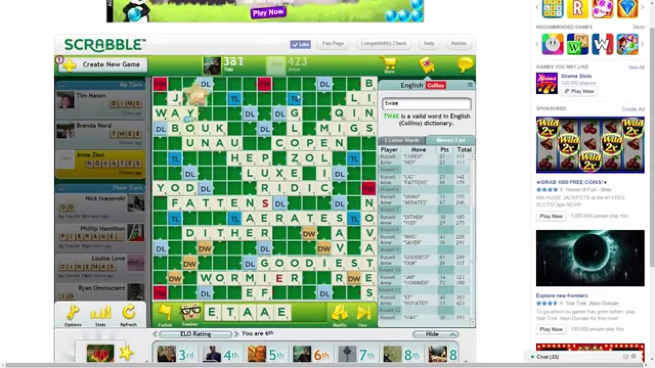 Playing Scrabble Online #1