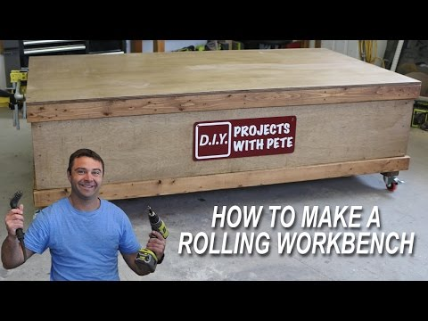Build this workbench with a large flat surface and wheels | With Free Plans!