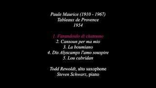 Paule Maurice: Tableaux de Provence for alto saxophone and piano, 1954