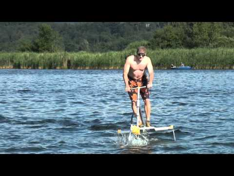 Trendy sport: Trampofoil, also known as Hydrobike, HydroSlide, Hydrothopter or Aquaskipper