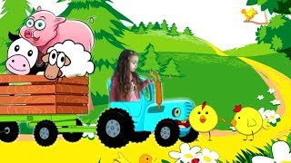 THE BLUE TRACTOR IN THE FIELDS learn animals Nursery rhymes and kids songs
