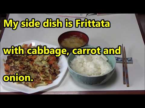 Japanese simple.Today's my side dish at noon is Frittata with cabbage, carrot and onion.
