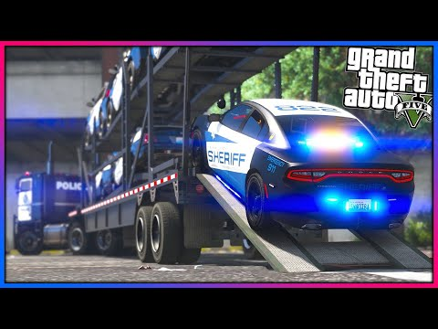 GTA 5 - Delivering Brand New Sheriff Vehicles!! (Let's Go Work)