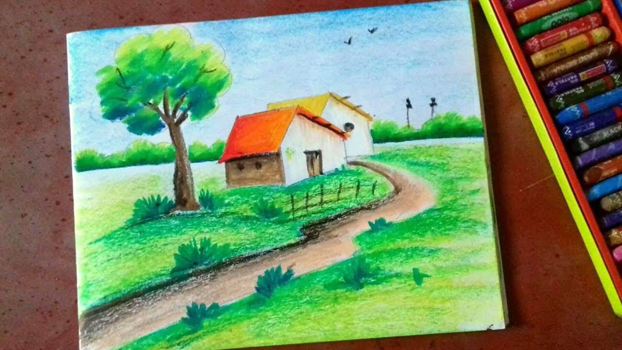 Drawing Of Nature Easy Pastel Color Painting For Beginners