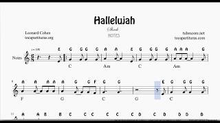 Hallelujah Easy Sheet Music with English Notes Flute Violin Oboe