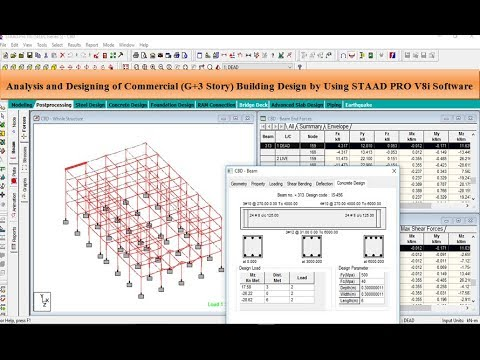 Commercial Building Design By Using Staad Pro V8i Software Youtube