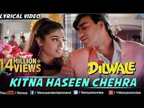 Kitna Haseen Chehra Full Lyrical Video Song  Dilwale  Ajay Devgan, Raveena Tandon  Kumar Sanu