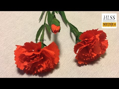 How to make carnation paper flower  Making paper flower easy and fast   Paper crafts
