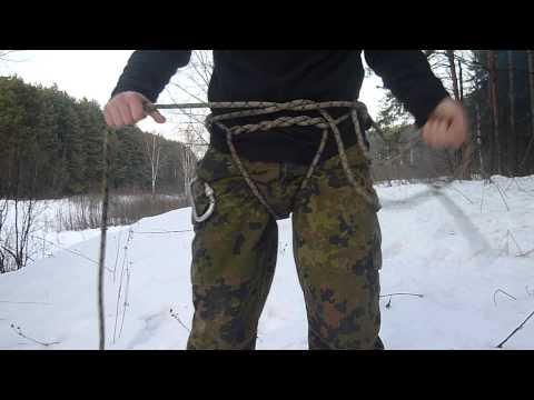 Tozhe Partizany альпинистская обвязка из куска веревки.