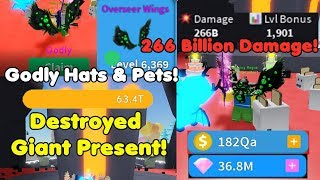 Got New Godly Hats & Pets! Destroyed GIANT Present! 266 Billion Damage! - Unboxing Simulator Roblox
