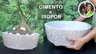 Técnica Incrível para fazer Vasos de Cimento e Isopor