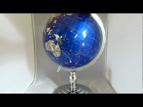 "13"" Caribbean Blue Gemstone Globe on Silver Pedestal Base"