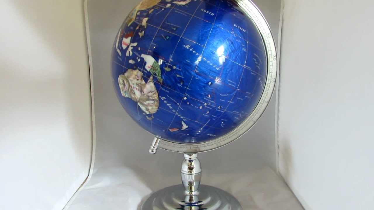 13 caribbean blue gemstone globe on silver pedestal base youtube 13 caribbean blue gemstone globe on silver pedestal base gumiabroncs Image collections