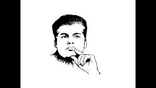 How to Draw Karan Johar face pencil drawing step by step