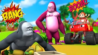 Funny Gorilla and Monkey with Monster Car - Farm Animals Funny Activities Jungle Videos 3D Cartoons