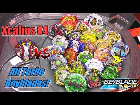 XCALIUS X4 vs ALL MY TURBO BEYBLADES!! Beyblade Burst Turbo SlingShock | Rail Rush BeyStadium