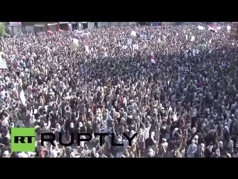 LIVE: Thousands of Yemenis opposed to Saudi intervention fill Sanaa's streets