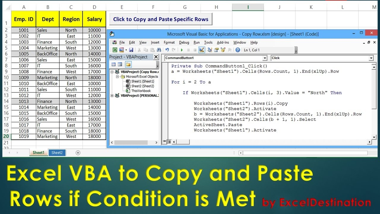VBA to Copy and Paste Rows if Condition is Met - Excel VBA Example by  ExcelDestination