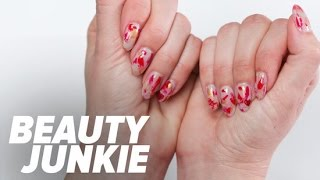 easy heart nail art for valentine s day   popsugar beauty junkie