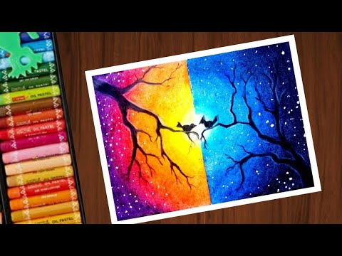 How To Draw Scenery Of Moonlight Night With Romantic Love