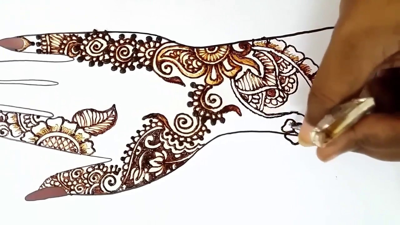 latest simple easy arabic setp by step henna mehndi design for hands ...