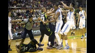 Full PBA Brawl Marc Pingris vs Kelly Nabong from actual play until the decision Sept 4, 2013