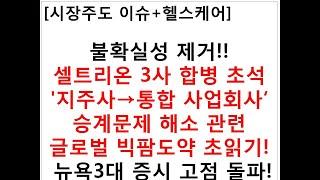 [시장주도 이슈+헬스케어]불확실성 제거!!셀트리온 3사…