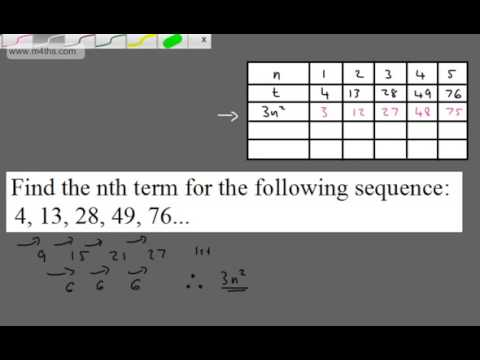 how to find the nth term of a quadratic sequence