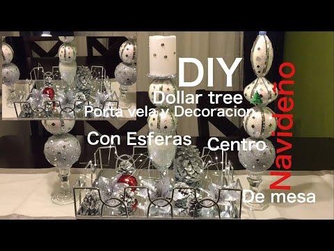 DIY Dollar Tree 🌲porta vela y Decoracion navideña centro de mesa