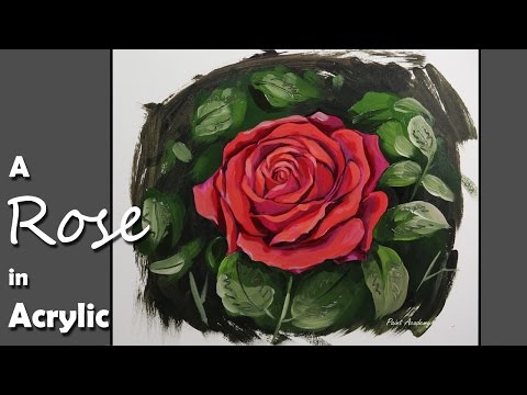 Acrylic Painting | How to Paint A Rose step by step