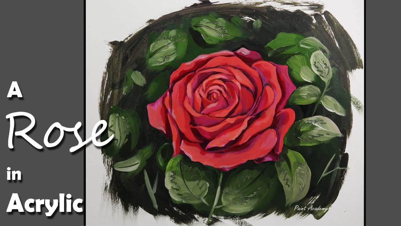 Acrylic painting how to paint a rose step by step youtube for How to paint a rose in watercolor step by step