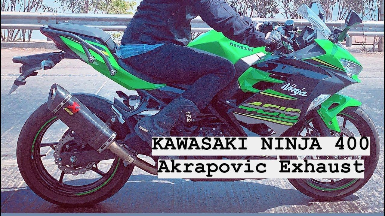 kawasaki ninja 400 with akrapovic exhaust slip on