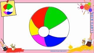 Dessin ballon de plage - Comment dessiner un ballon de plage FACILEMENT pour ENFANTS