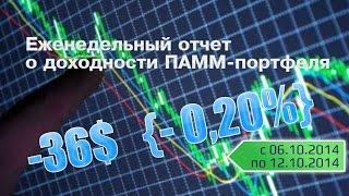 -36$ Отчет о доходности ПАММ-портфеля с 6 по 12 октября 2014