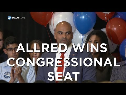 Representative-elect Colin Allred gives victory speech